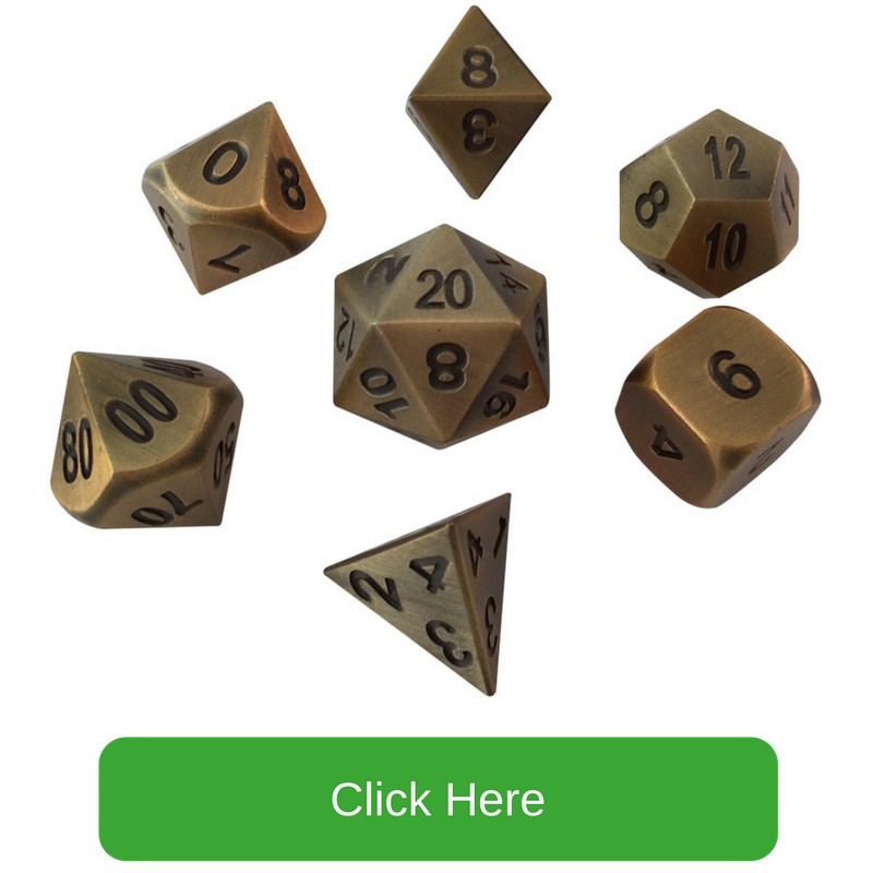 Antique Gold with Black Numbers Metal Dice