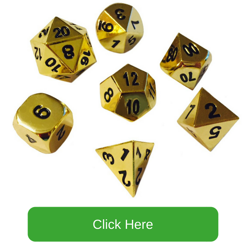 Gold Color with Black Numbers Metal Dice