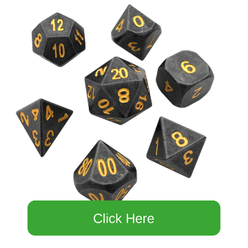 Gunmetal Gray with Gold Numbers Metal Dice | Hunger of the Ancients