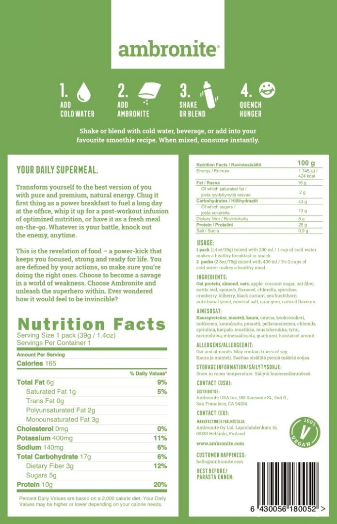 Ambronite Nutrilabel, Ingredients