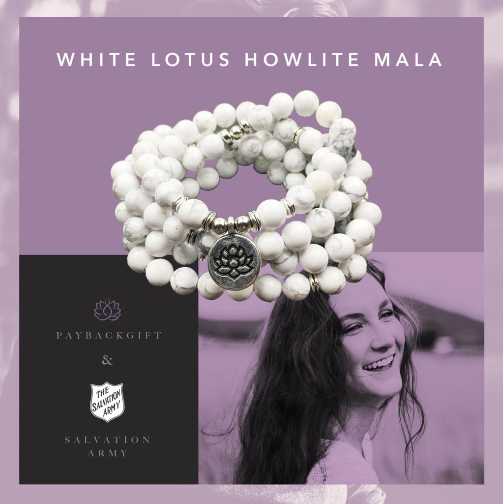 white lotus howlite mala
