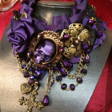 Miss Royal the purplest of all the new jewellery pieces at Gallery Serpentine featuring a skull and vintage gold coloured detailing