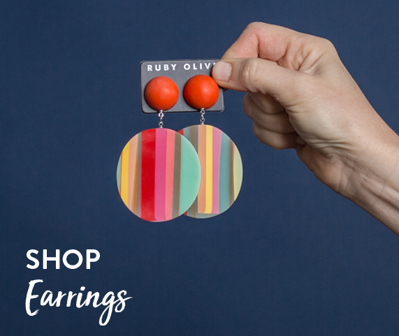 Shop by earrings | Multicoloured drop earrings on yellow background