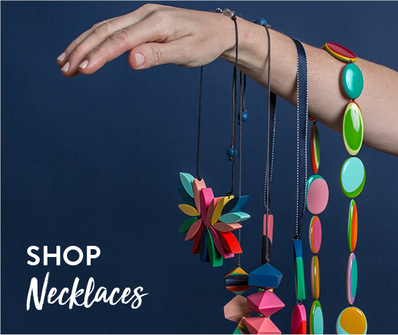 Shop by Necklaces | Colourful necklace on yellow background