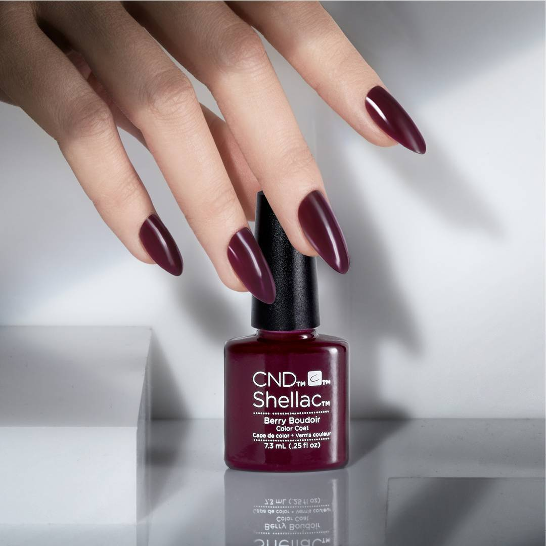 Cnd Shellac Hand Nails Cdn Berry Colour Color