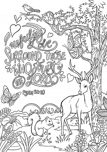 Psalm 32:10 Coloring Page