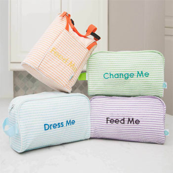 New Orleans Seersucker Easy Baby Travelers Starter Set of 4 for Diapers, Clothes, Food & Bottles