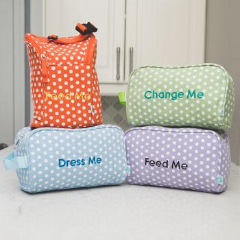 Laguna Beach Polka Dot Easy Baby Travelers Starter Set of 4 for Diapers, Clothes, Food & Bottles