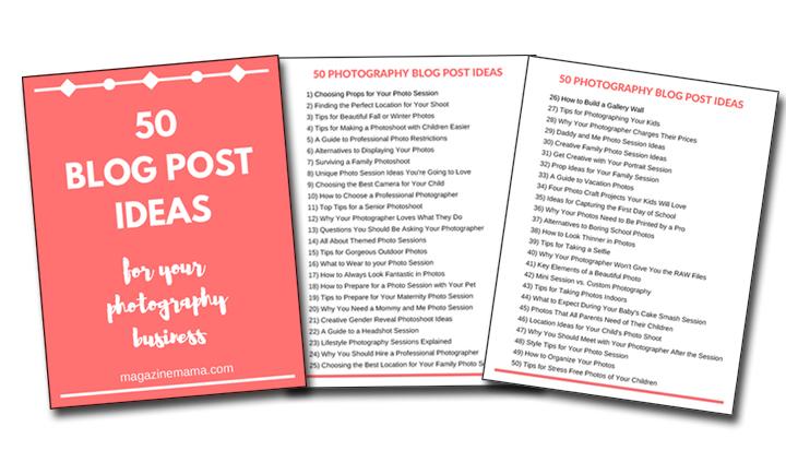50 blog post ideas for photographers