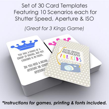 3 kings card games to teach photography to kids