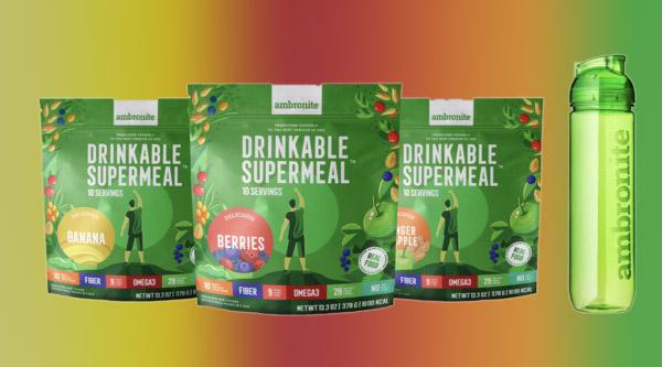 Ambronite Drinkable Supermeal 3 Flavor Bundle with Shaker