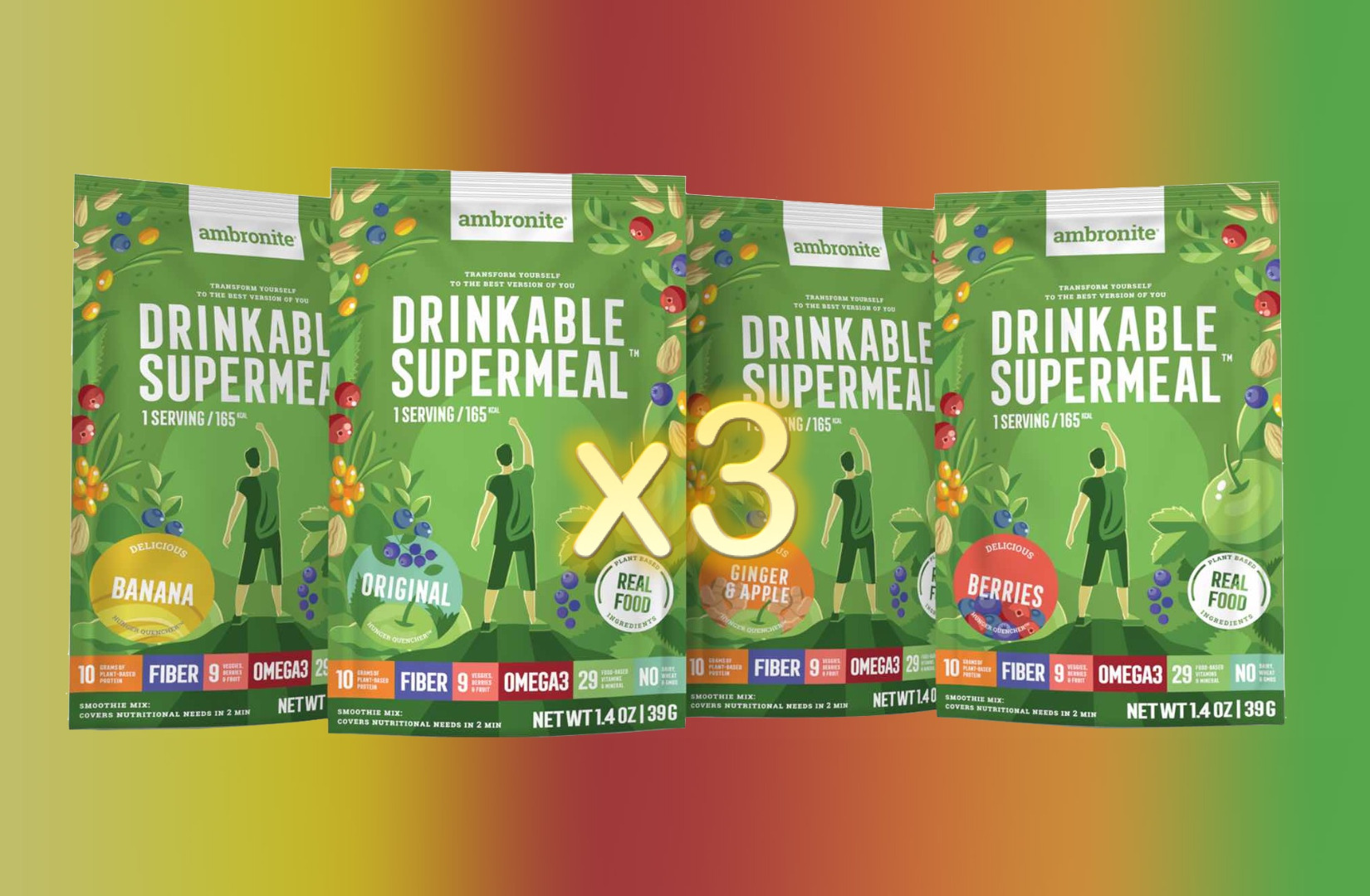 Ambronite Drinkable Supermeal 12 x 165 kcal Snack Meals Pack
