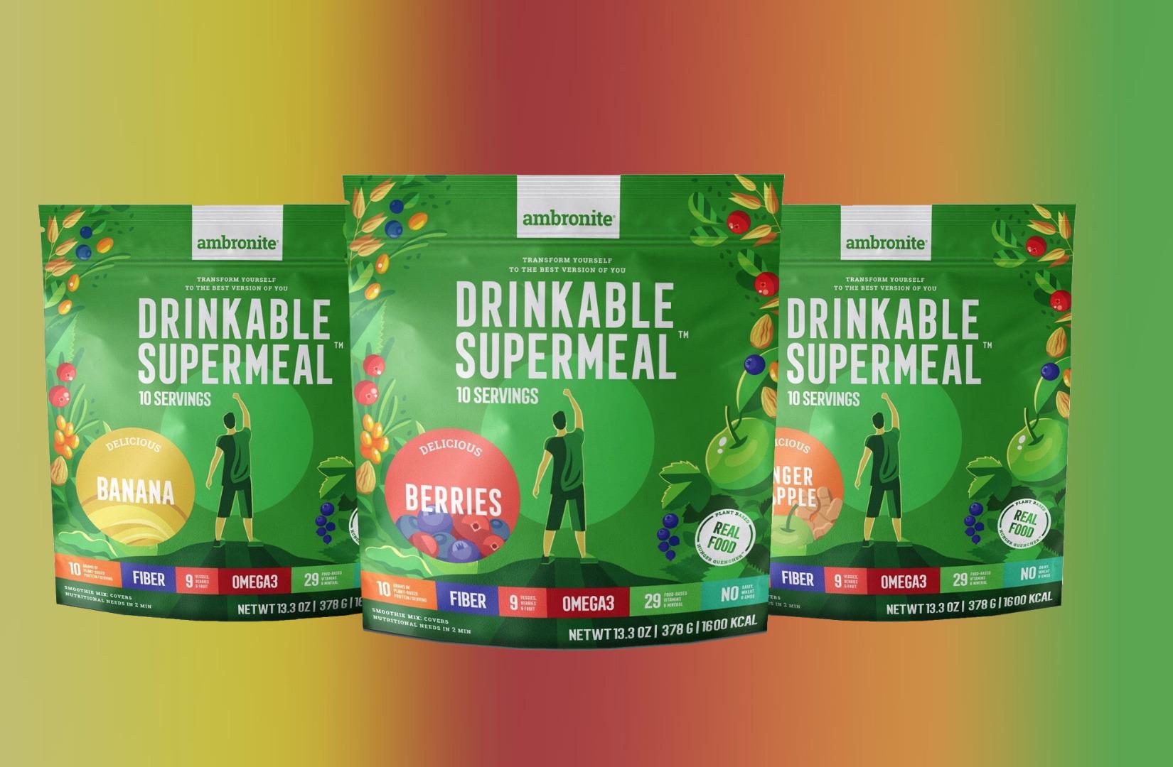 Ambronite Drinkable Supermeal 3 Flavor Bundle