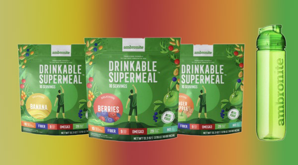 Ambronite Drinkable Supermeal 3 Flavor Bundle with Shaker