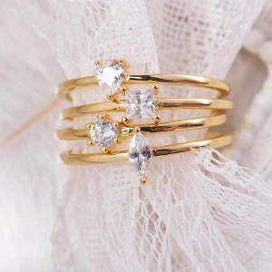 Dainty 4x 14K Vermeil Ring Set