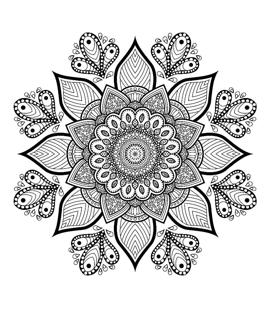 Free Flower Mandala Adult Coloring Page