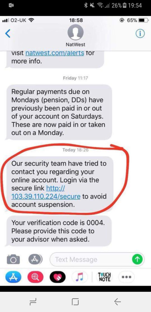 BEWARE! Text Message Scam from 'Natwest' Bank - InterSecure UK