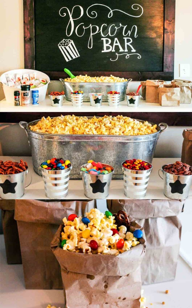 popcorn bar movie night