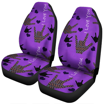 FRONT- I LOVE YOU CAR SEAT COVERS