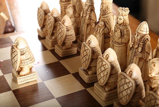 Hauteville chess set for Valentines - light pieces closeup