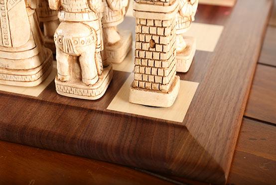Queen Anne Chess board closeup - House of Hauteville chess set