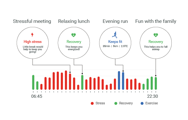Garmin Stress Level feature in Garmin Fitness Tracker showed