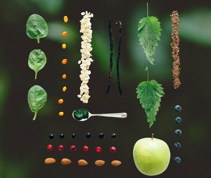 Ambronite terveellinen välipala-smoothie ainesosat, kokonaiset ruoka-aineet, nopeasti valmistuva herkullinen superfood sekoitus