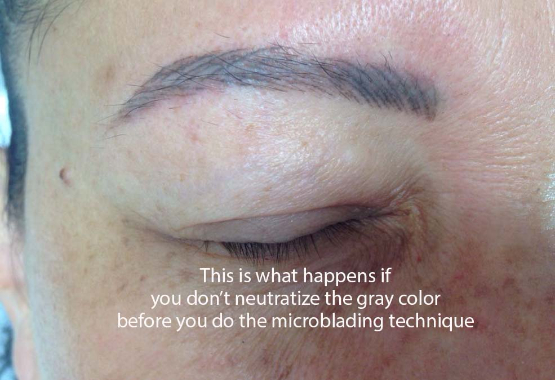 This is what happens if you don't neutralize the grey color before a microblading procedure!