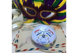 Mardi Gras Gifts Crystal Domed Paperweight