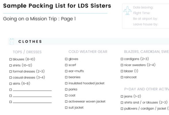 Sample packing list for LDS sisters on a mission
