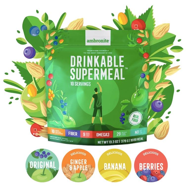 Ambronite Complete Meal Shake Flavors, Original, Banana, Berries, Ginger & Apple