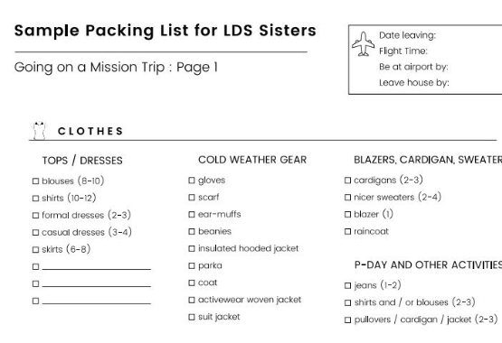 Lds Sisters Packing List  Ezpacking Inc