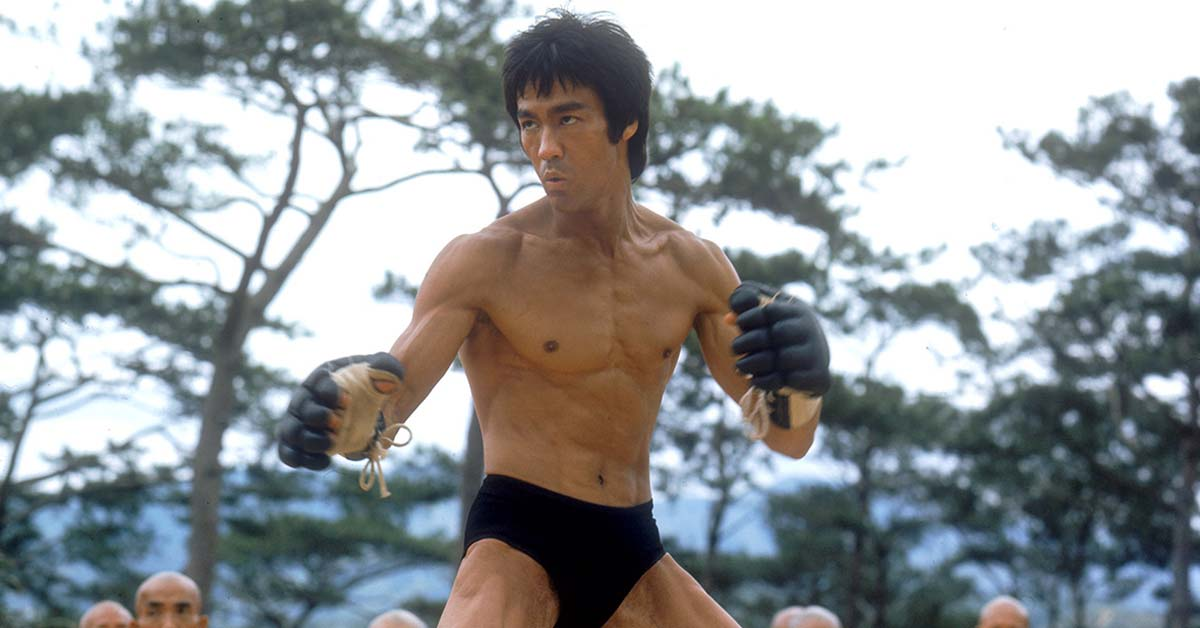 Bruce Lee posing in Enter The Dragon