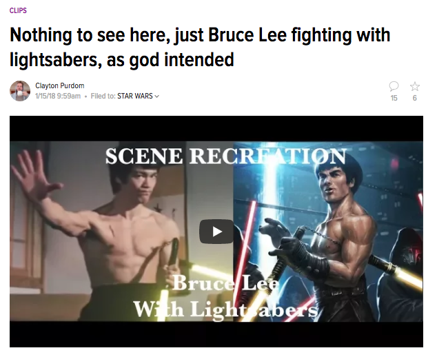 A/V Club Loves Bruce Lee With Lightsabers