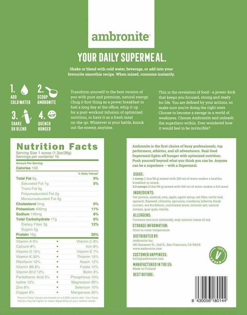 Ambronite Mahlzeitenersatz-shake Zutaten 1