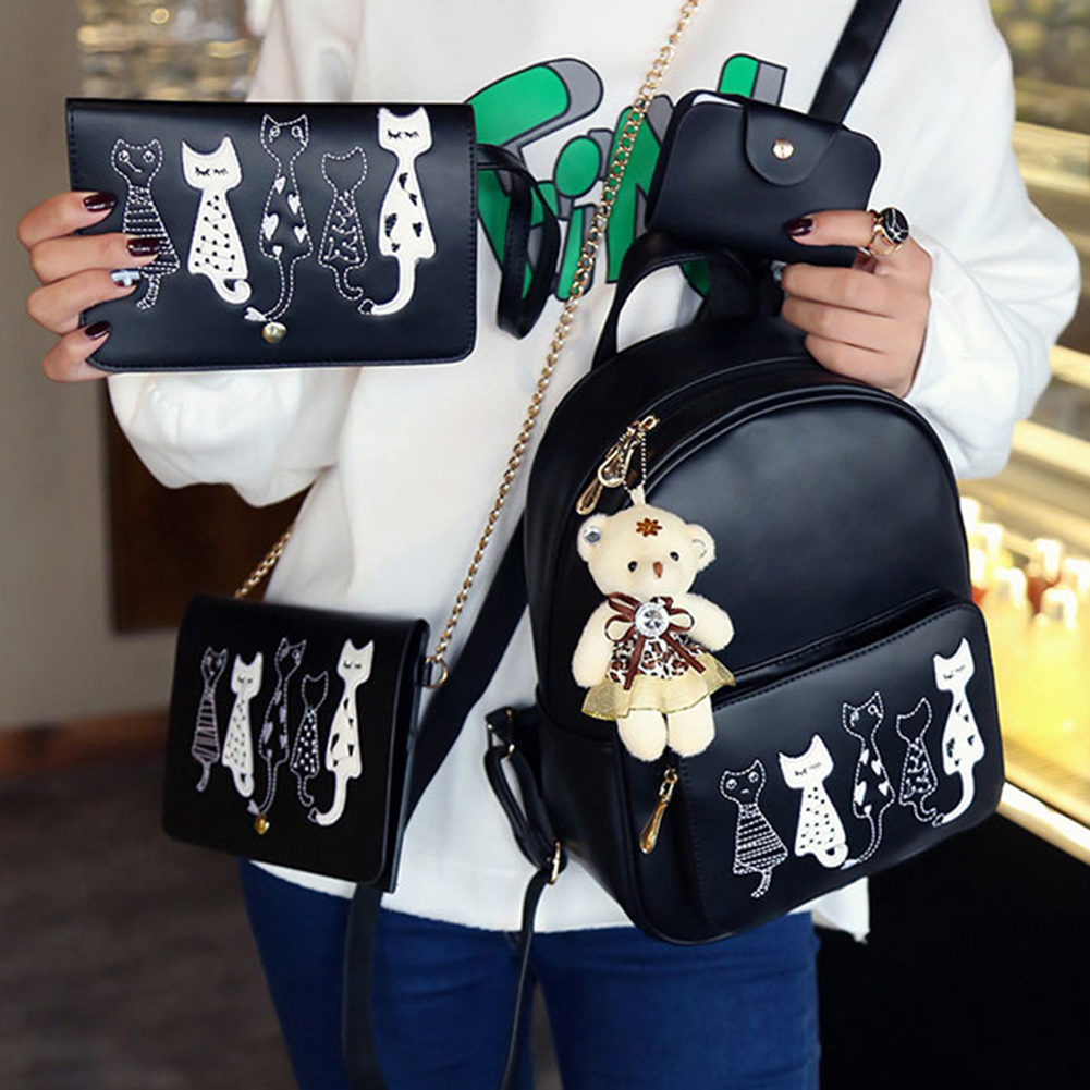 CuteCat™ Hand Stitched 4PC Bag Set - BLACK