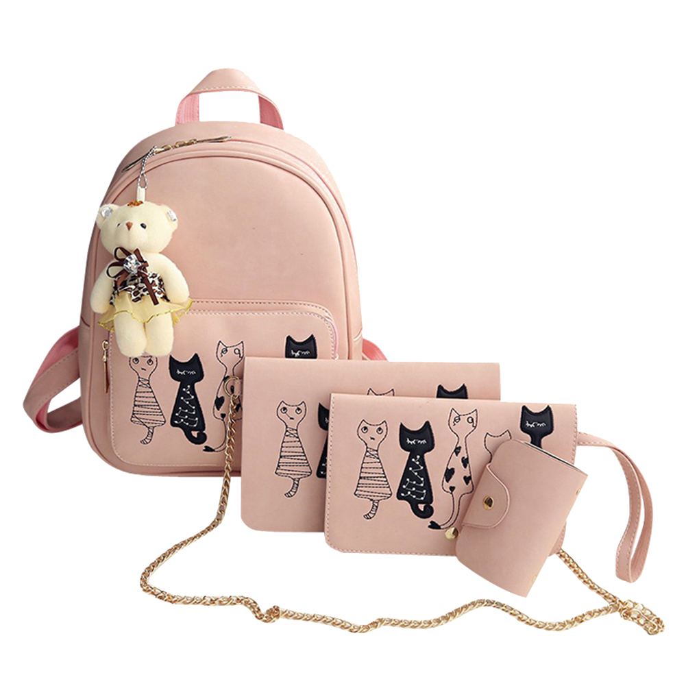 CuteCat™ Hand Stitched 4PC Bag Set - Pink