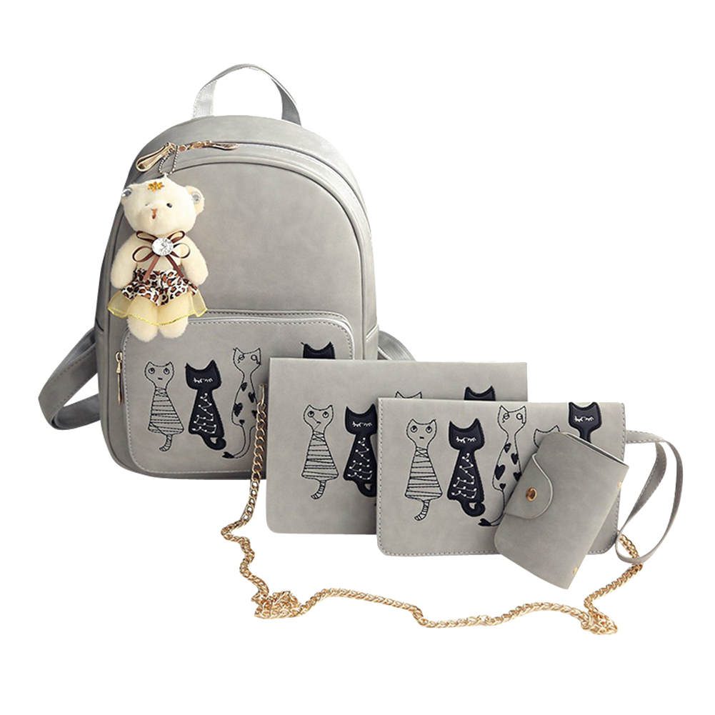 CuteCat™ Hand Stitched 4PC Bag Set - Grey