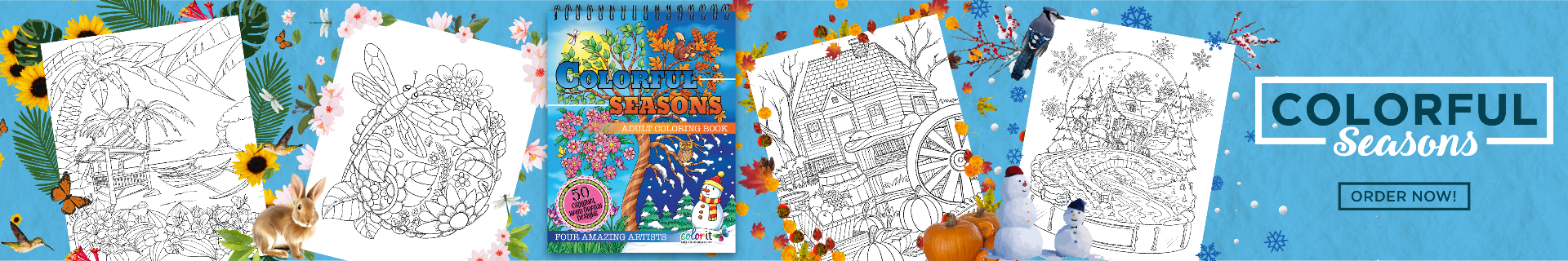 Colorful Seasons adult coloring book by ColorIt