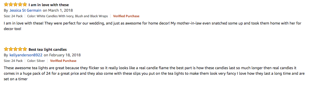 5 star customer reviews