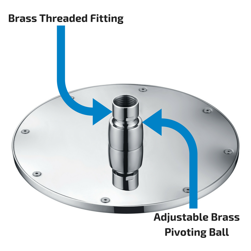 Rain Shower Head with Solid Brass Threads and Pivoting Ball