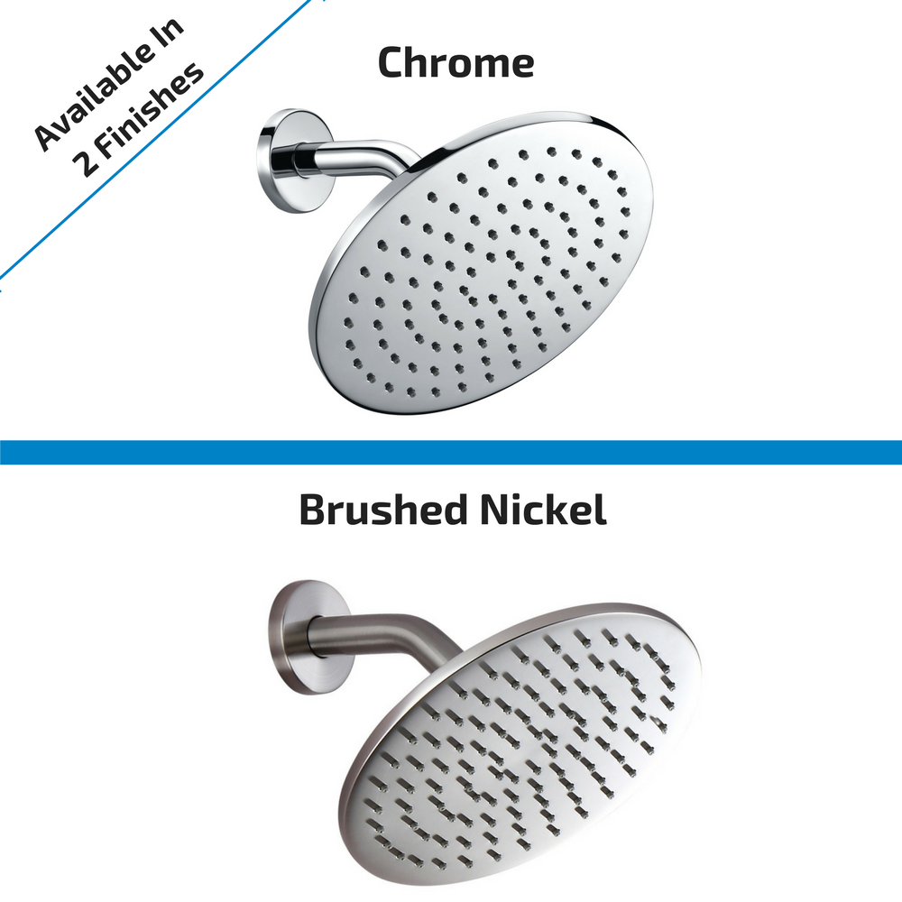 Rain Shower Head Available in Chrome and Brushed Nickel Finishes