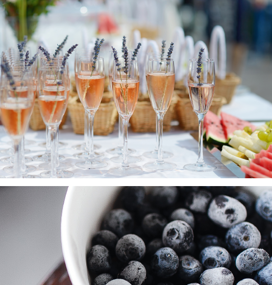 champagne bar with lavender sprigs