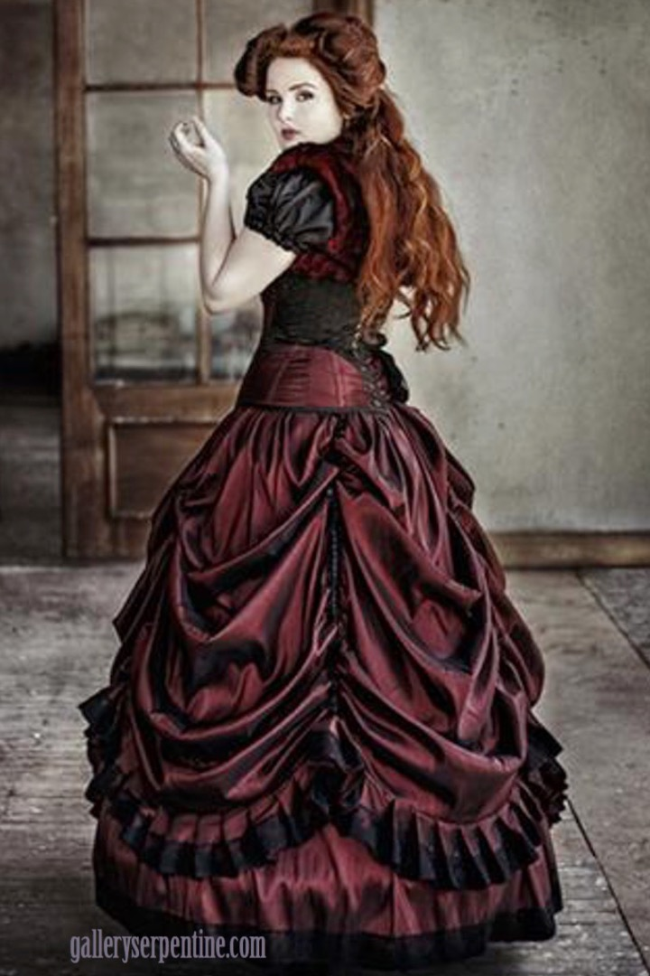 Dragons Blood wedding dress is a gothic victorian style