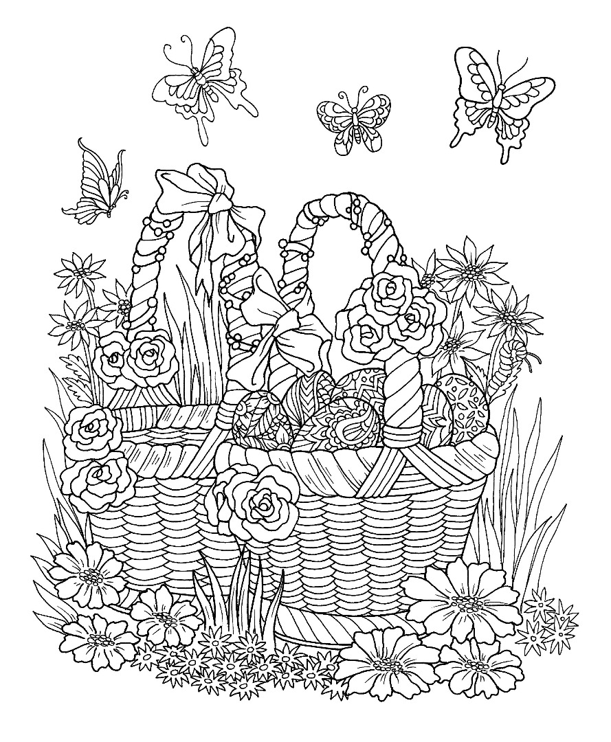 Free downloadable eggs in a basket coloring page