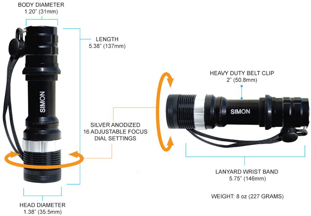 Simon T6 500 lumens LED Flashlight