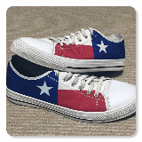 Texas State Flag Low Top White Trim Canvas Shoes
