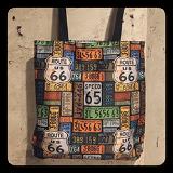 Route 66 License Plates Canvas Tote Bag