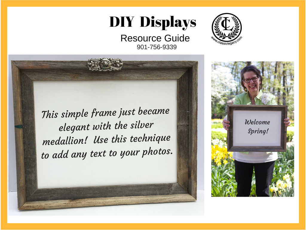 Catherine Holding Wooden Frame and frame with silver medallion