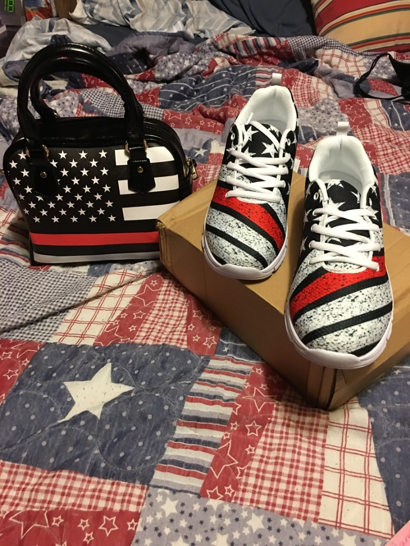 Red Line Handbag and Sneakers